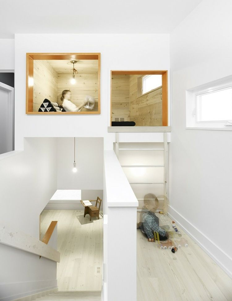 kleine zimmerdekoration ausen holzverkleidung idee, interieur idee für den flur - eine leseecke über der treppe, Innenarchitektur