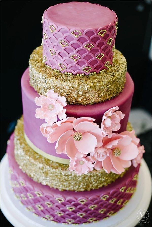 5 layered fuschia and gold wedding cake // 2nd Wichita NotWedding #TheBigFakeWedding @Cheri's Bakery