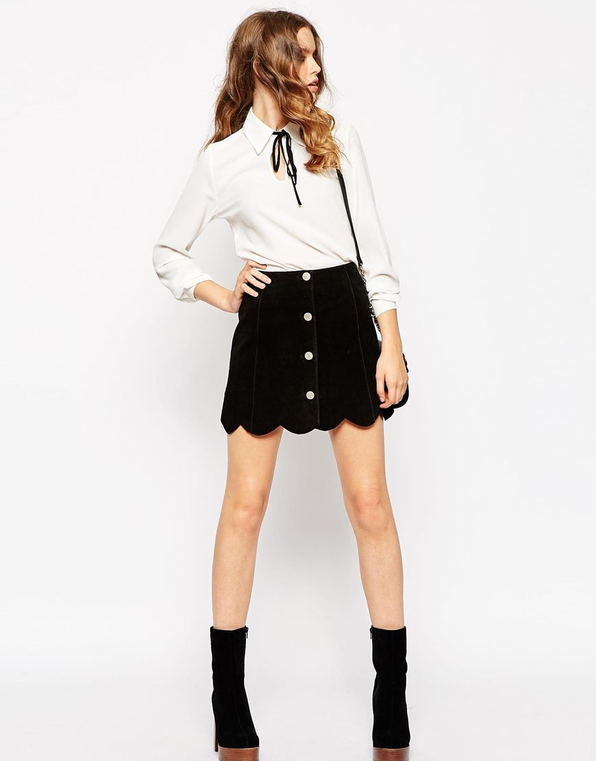 ASOS Suede A Line Skirt With Button Through And Scalloped Hem ...