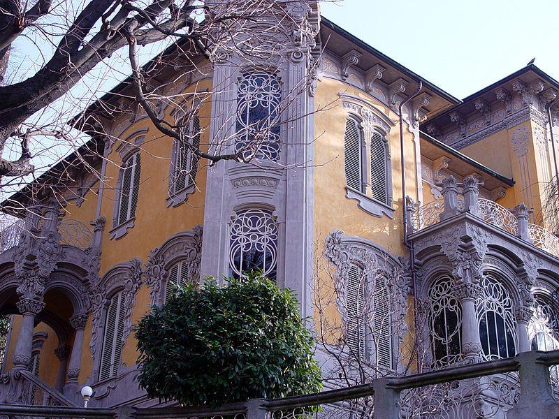 Villa Scott, facciata esterna, Torino; realizzata da Pietro Fenoglio nel 1902.