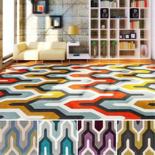 For Hand Tufted Geometric Contemporary Area Rug 5 X 8