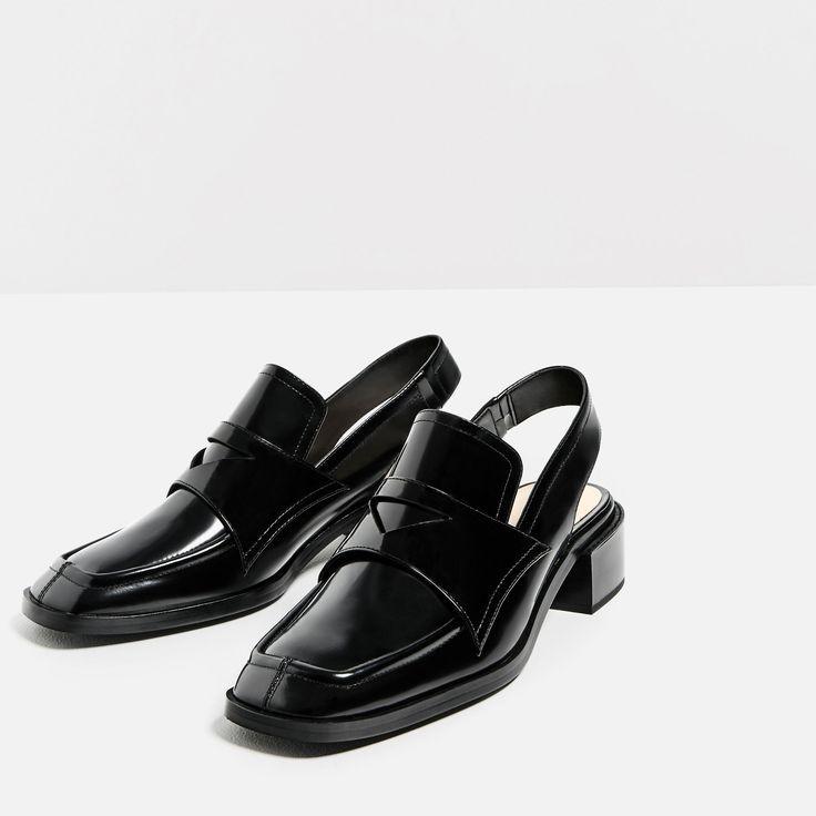 tendance chaussures 2017 2018 zara femme mocassins en cuir ouverts au talon mode. Black Bedroom Furniture Sets. Home Design Ideas