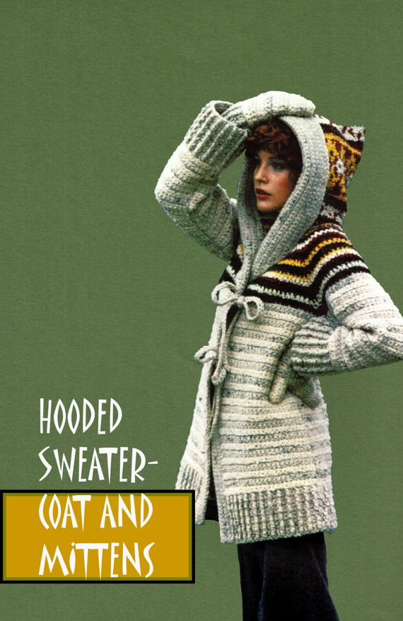 Items similar to Vintage 70's Crochet Hooded Coat & Mittens - PDF Pattern - INSTANT DOWNLOAD on Etsy