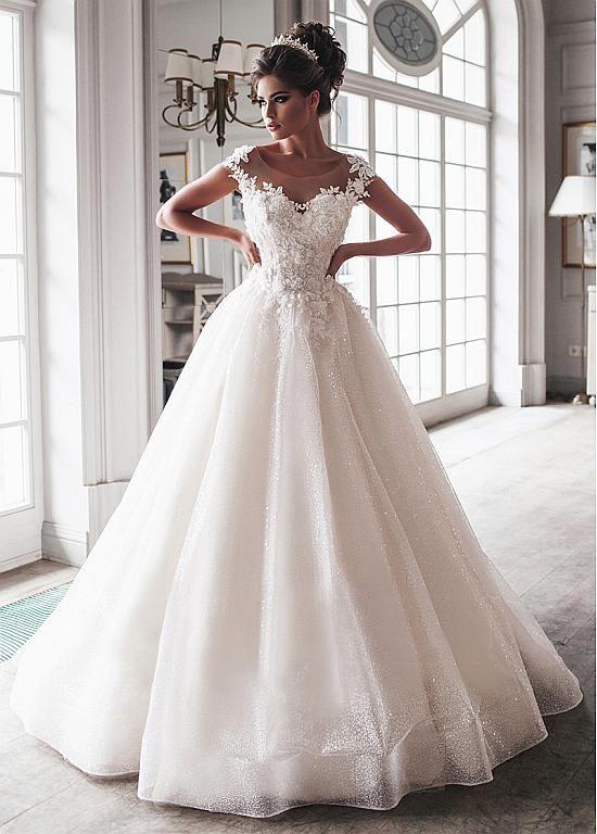 Photo of [266.80] Hermosos vestidos de novia largos hasta el suelo con escote redondo de tul con flores hechas a mano y apliques de encaje con cuentas – bridesfamily.co