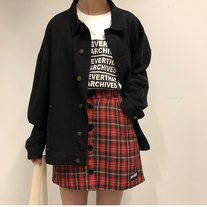 Red Plaid Button Skirt from ulzzangstudio #kpopfashion