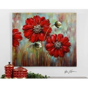 large red flowers and painted stones define the uttermost shining stars floral art  uttermost 34259 shining stars  this vibrant hand painted artwork      rh   pinterest