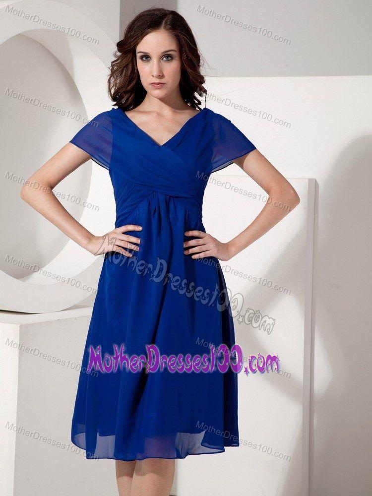 Elegant Ruched V Neck Knee Length Mother Of The Groom Dresses In