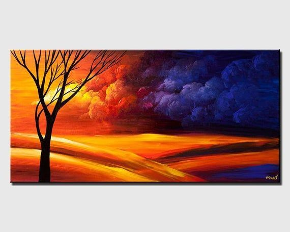 Modern landscape painting  acrylic on canvas by Osnat  MADETOORDER
