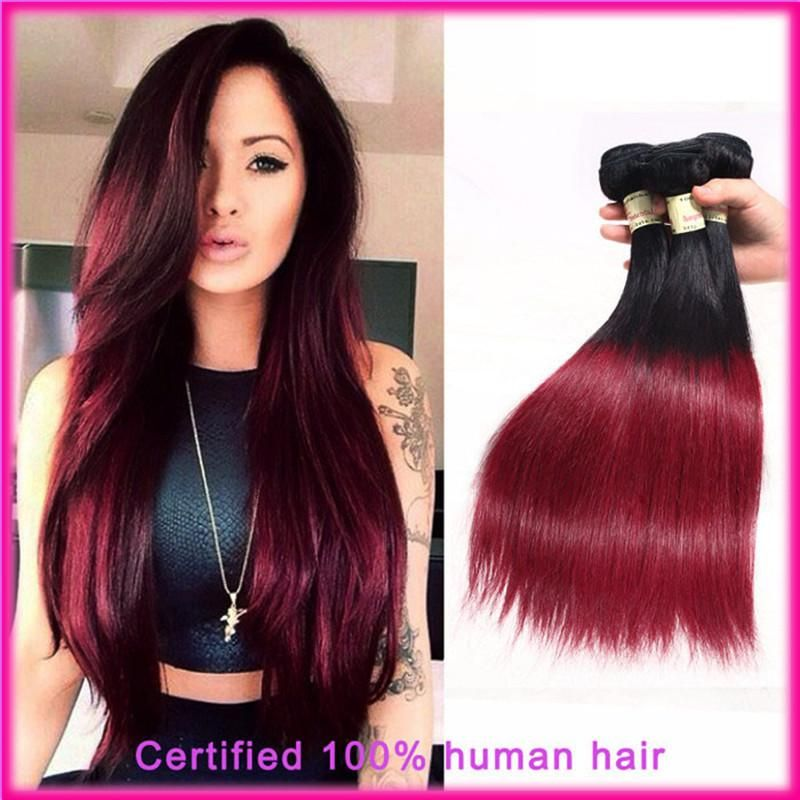 Top Quality 6a Virgin Brazilian Ombre Hair Extensions Straight Two