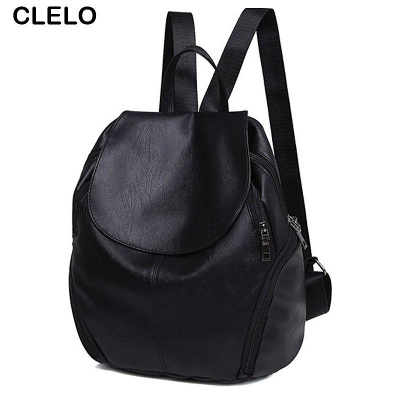 CLELO Fashion Women Backpacks Black Bag Female Teenagers Student School  Shoulder Bags Travel Bagpack Girls PU 2a570cf664