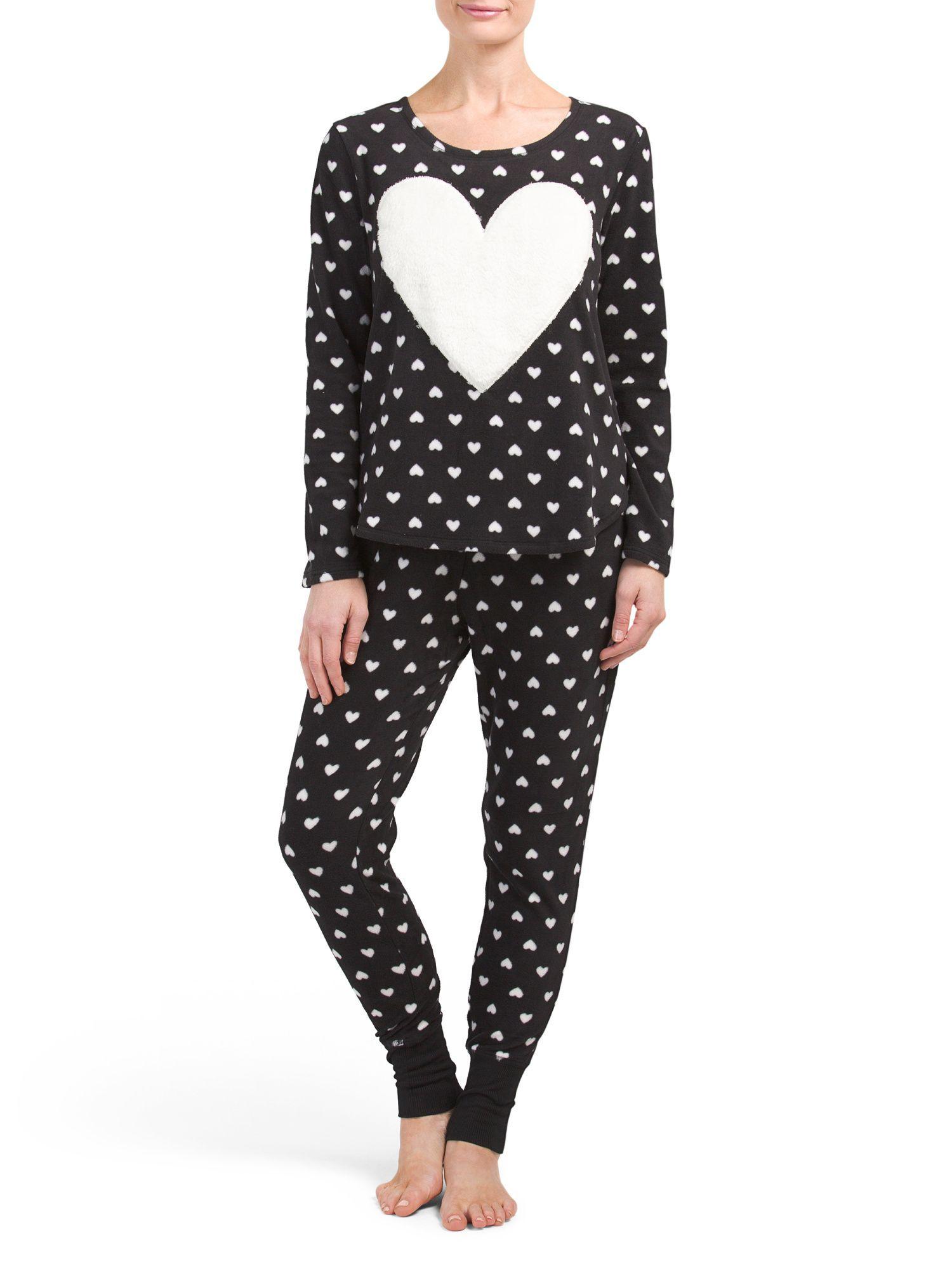 0cdf39b3cd0c Heart Joggers Fleece Pajama Set