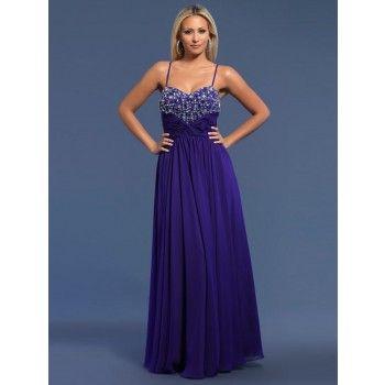 elegante abendkleider royalblau chiffon alinie lang mit trägern  elegante abendkleider