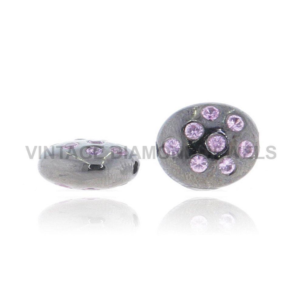 2pc Pink Sapphire Bead Spacer Gemstone Finding Accessories 925 Sterling Silver Bracelet Gemstone Bead Finding For Jewelry Making VDJFI-13482 by VintageDiamondJewels on Etsy