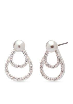 Anne Klein Women Silver Tone Oval Pearl Button Earrings - Silver - One Size