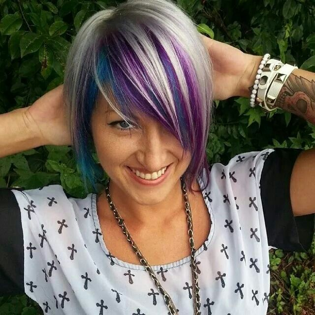 Cute Short Hair With Blue And Purple Under Blonde Hair Styles Short Hair Styles Funky Hair Colors
