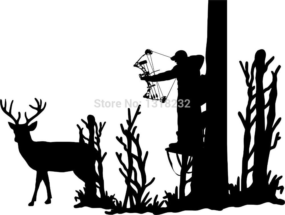 Hunting Deer Tree Stand Bow Gun Whitetail Car Truck Window Vinyl - Bow hunting decals for trucks