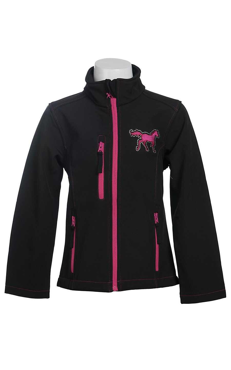 Cowgirl Hardware Girl S Black With Pink Zebra Heart And Horse Polyshell Jacket Outerwear Jackets Childrens Outerwear Jackets [ 1440 x 900 Pixel ]