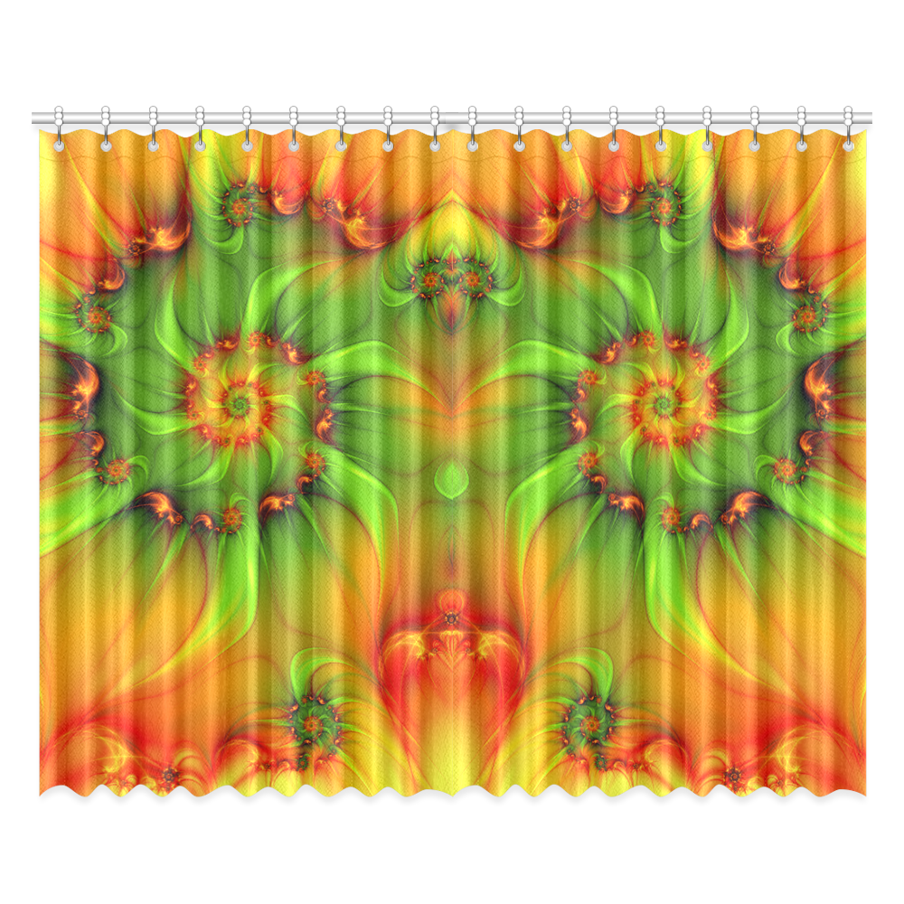 Hot summer green orange abstract colorful fractal window curtain