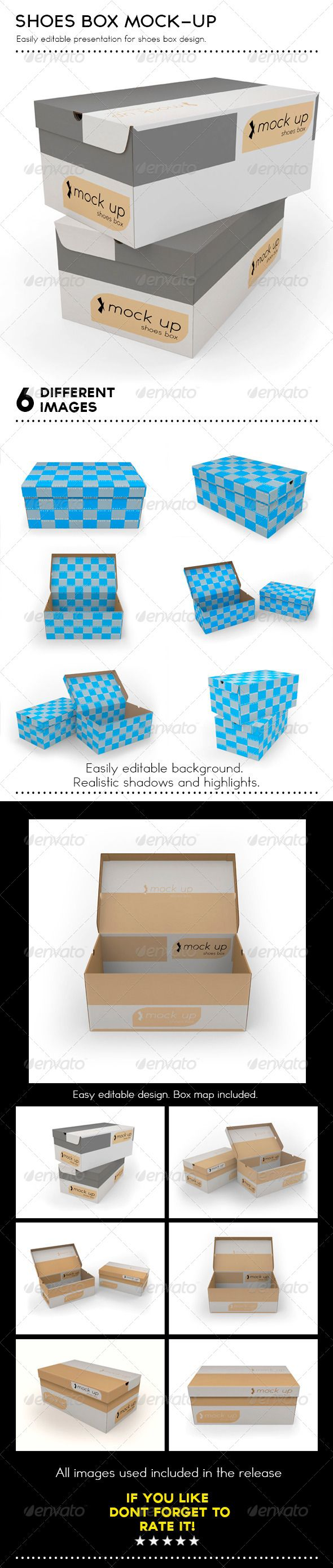 Shoes Box Mockup by Gustavlegion Mock up include: - 6 different images of shoes  box