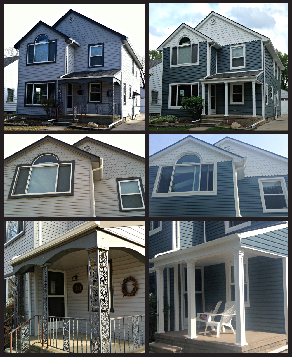For The Hallgren House In Berkley Mi The Client Wanted To Update The Siding And Trim Without Losing The With Images White Vinyl Siding A Frame House Outside Paint Colors