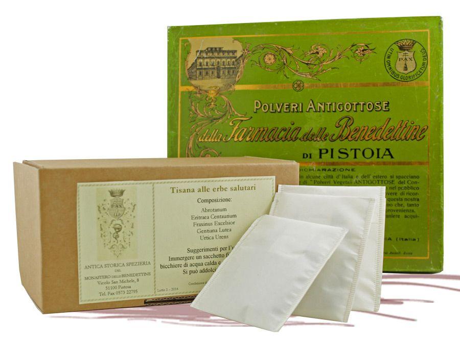 La Tisana alle Erbe Salutari delle monache benedettine di Pistoi è prodotta da più di un secolo. Ottimo rimedio naturale per gotta, colesterolo e artrosi. Confezione da 30 filtri.  Dettagli sul blog: http://bit.ly/erbesalutari
