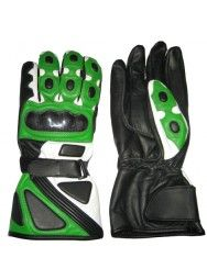 Men's Racing Biker Green & Black Leather Gloves