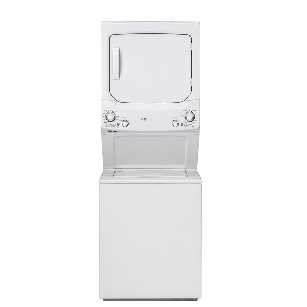 Ge White Laundry Center With 3 9 Cu Ft Washer And 5 9 Cu Ft