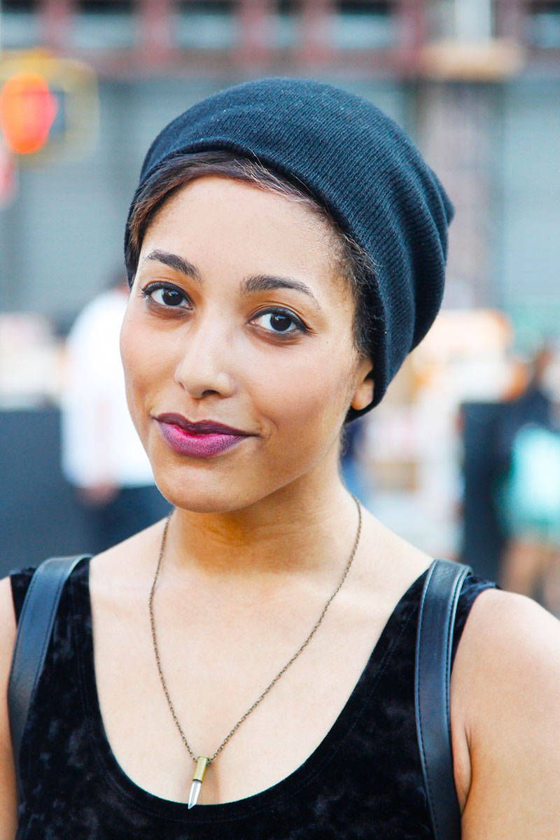 Street Chic Beauty New York - Elle // Kia: Her essentials for getting the look: Maybelline foundation and mascara, black eyeshadow mixed with Revlon lipstick