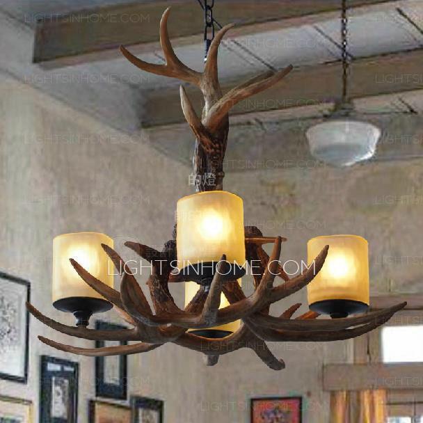High end 4 light glass shade deer antler chandeliers