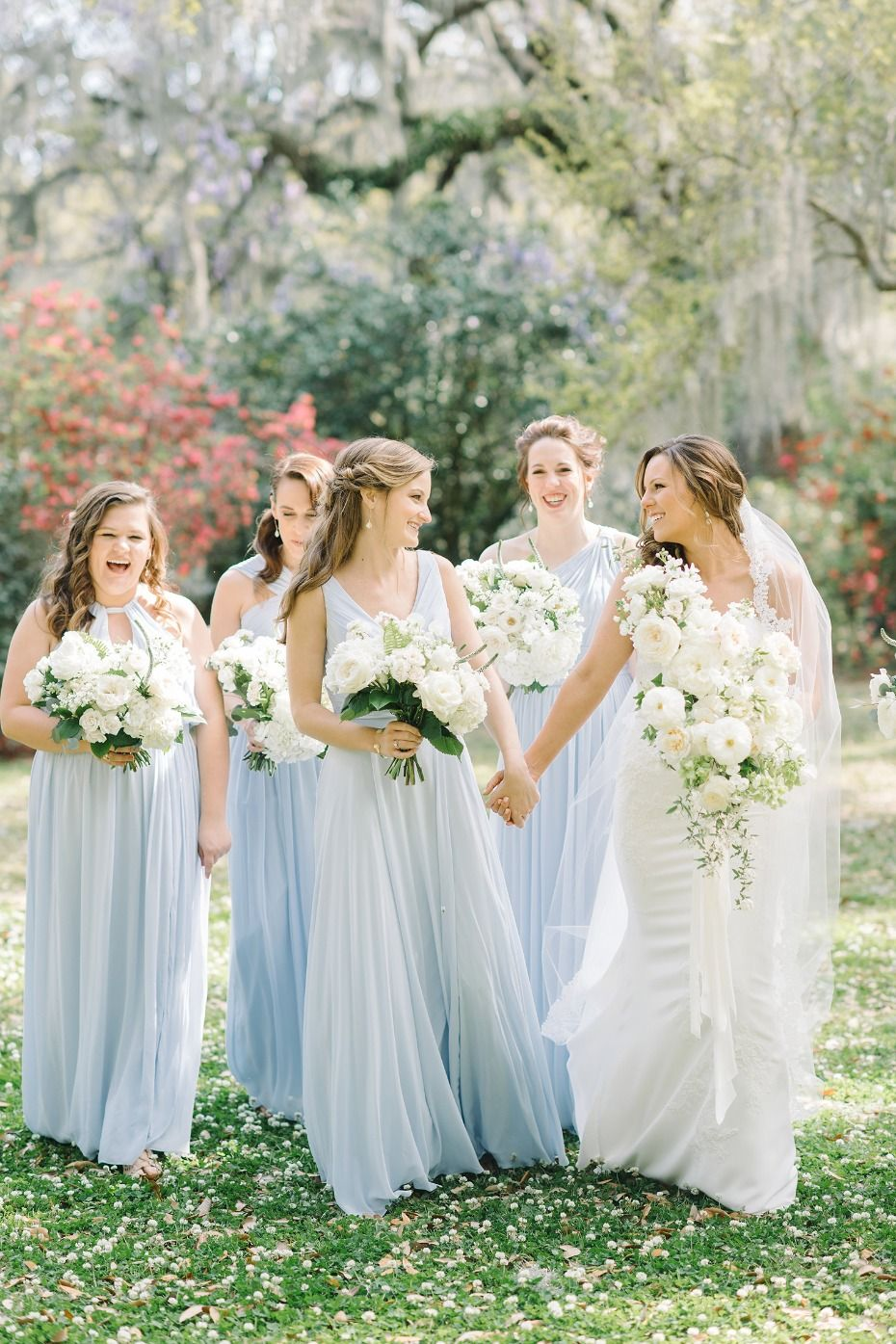 A Classic Pastel Blue And White Outdoor Wedding For 70k Classic Wedding Hair Blue Bridesmaids Blue Bridesmaid Dresses [ 1395 x 930 Pixel ]