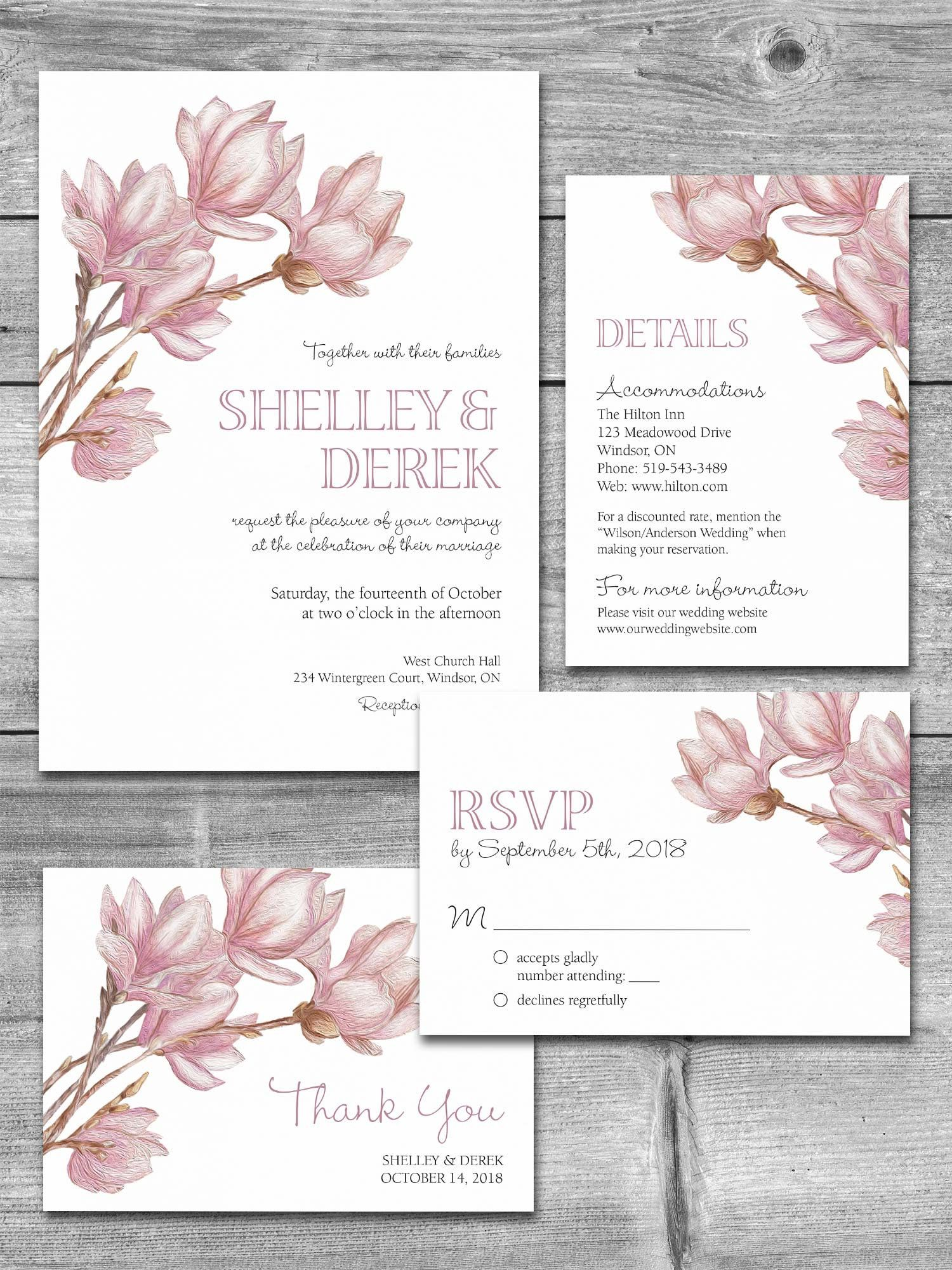 photo relating to Etsy Wedding Invitations Printable identified as Wedding day Invitation Fastened Printable Magnolia Marriage