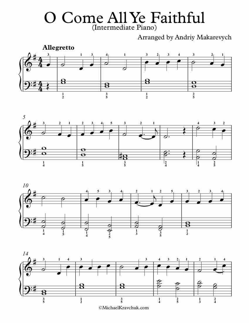 Free Piano Arrangement Sheet Music O Come All Ye Faithful Intermediate Good Luck Christmas Piano Music Sheet Music Free Piano [ 1100 x 850 Pixel ]