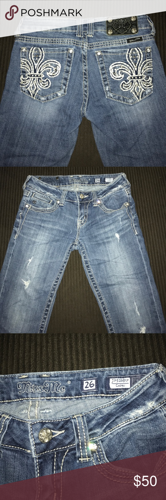 Miss me capris Miss me jean capris .. has cute design on back pockets .. not a lot of bling on these .. has the distressed look wore 2x Miss Me Jeans