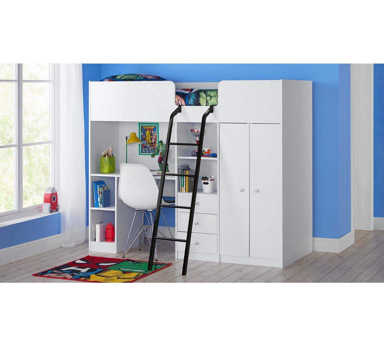 Buy Argos Home Ohio White Shorty High Sleeper Bed Frame Kids Beds Argos Kids Mattress Kids Bed Frames Argos Home