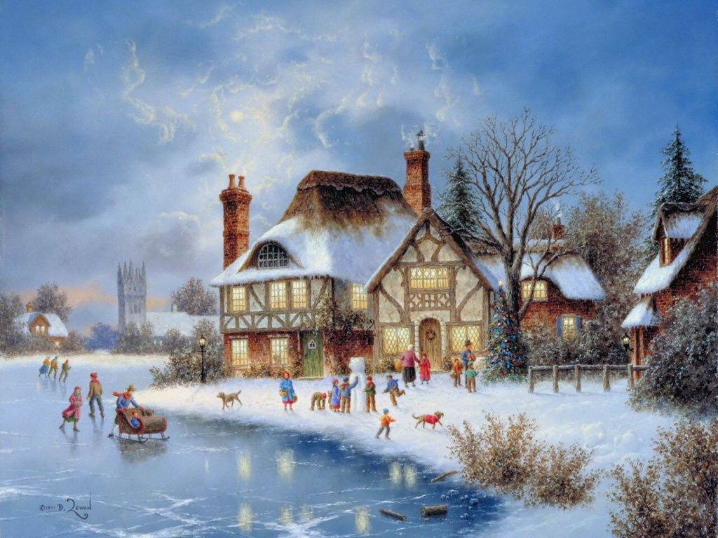 Christmas house painting - Christmas Paintings Are Beautiful Wallpapers You Can Choose To Decorate Your Computer Desktop Christmas Paintings
