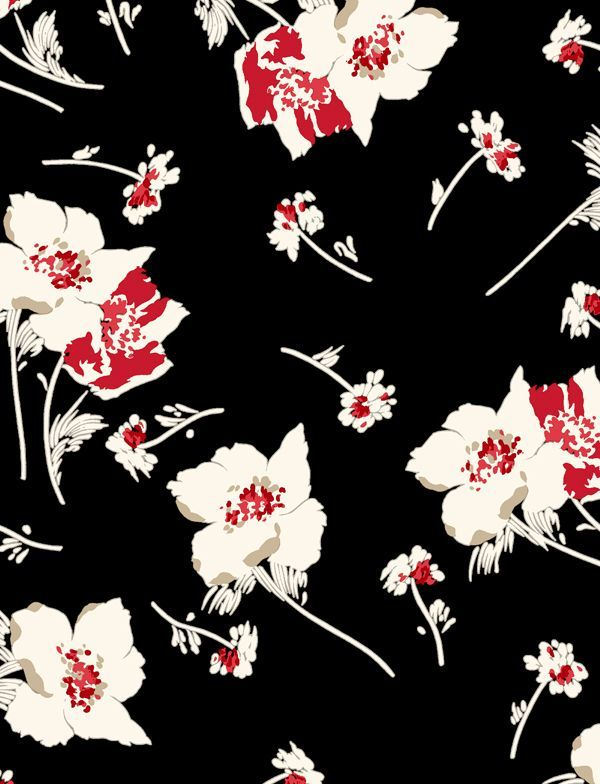 black and red designer floral dress fabric - Google Search