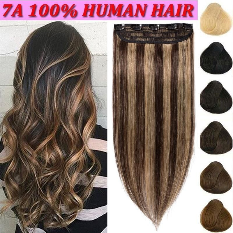 Hair Extensions Clip In Human Hair 100 Real One Piece 16 22inch