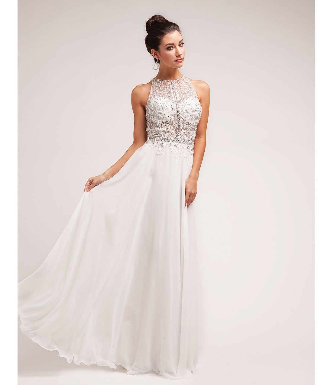 prom dresses off white beaded lace u chiffon halter gown