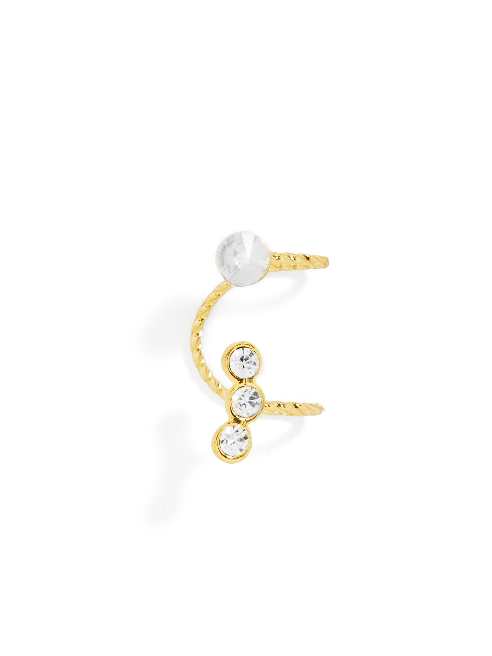 Bump above nose piercing  Crystal Ear Cuff  Delicate and Crystals