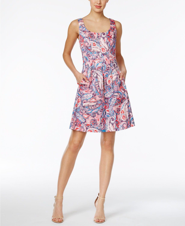 Nine West Paisley Print Fit Amp Flare Dress Macys Com Fit Flare Dress Flare Dress Dresses [ 1500 x 1230 Pixel ]