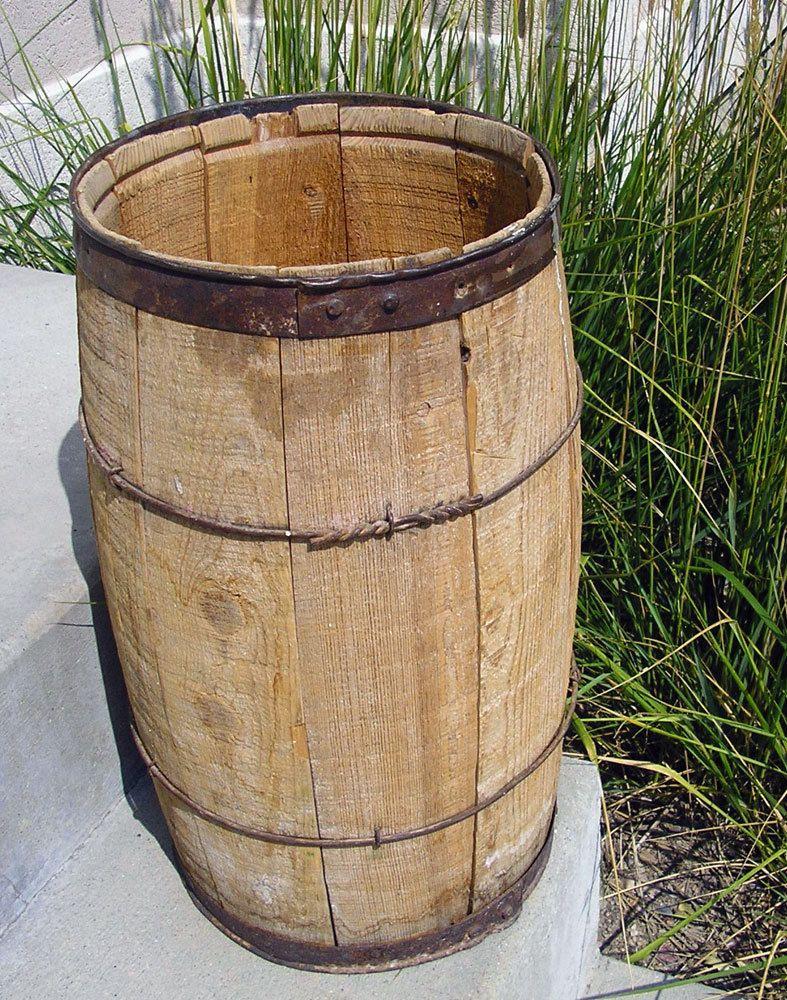 old wooden nail keg vintage wood barrel metal strapping old wooden nail keg vintage wood barrel metal strapping rustic home decor prop storage wood keg