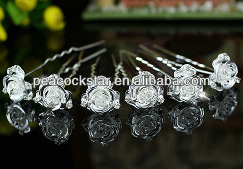 Wedding Hair Accessories- http://www.aliexpress.com/store/product/6-pcs-X-Set-Bridal-3D-Rose-Crystal-Silver-Hair-Pins-CP1144/213119_1130506209.html
