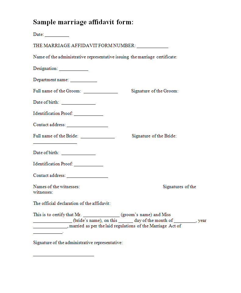 Affidavit Forms | Free Form Templates   Marriage Affidavit Template  Free Affidavit Form Template