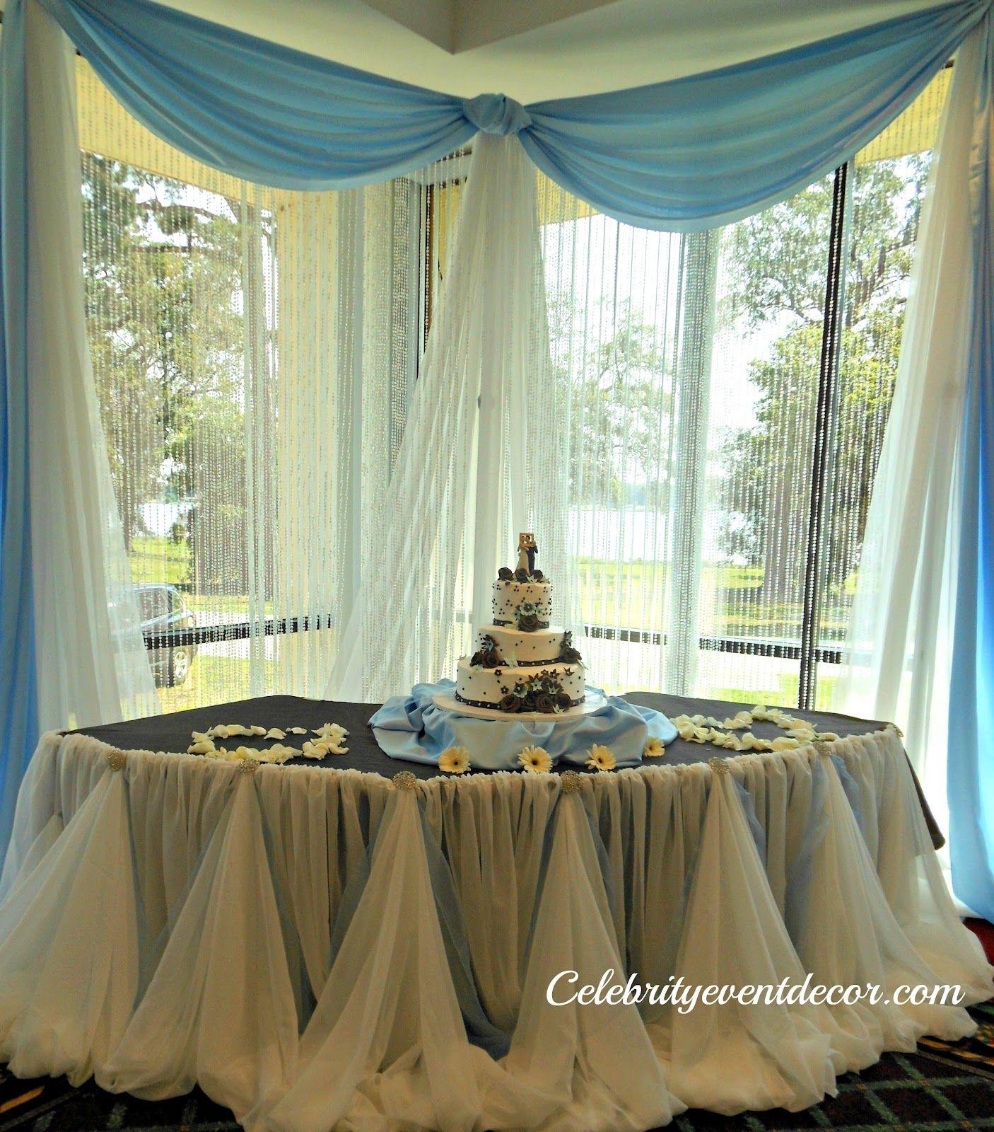 Celebrity Wedding Reception Decor: Cake Table Decorations, Cake