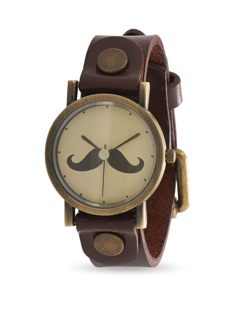 Leather Fashion Watch with Mustache Design