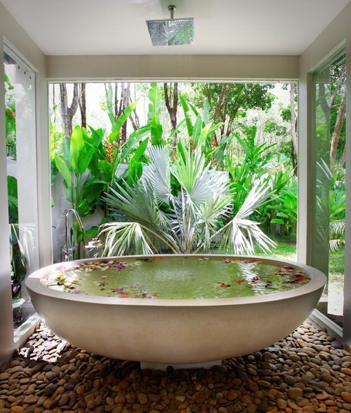 Bathtub In Villa Nai Harn Phuket Thailand Features Pebble Floor Free Standing Soaking Tub