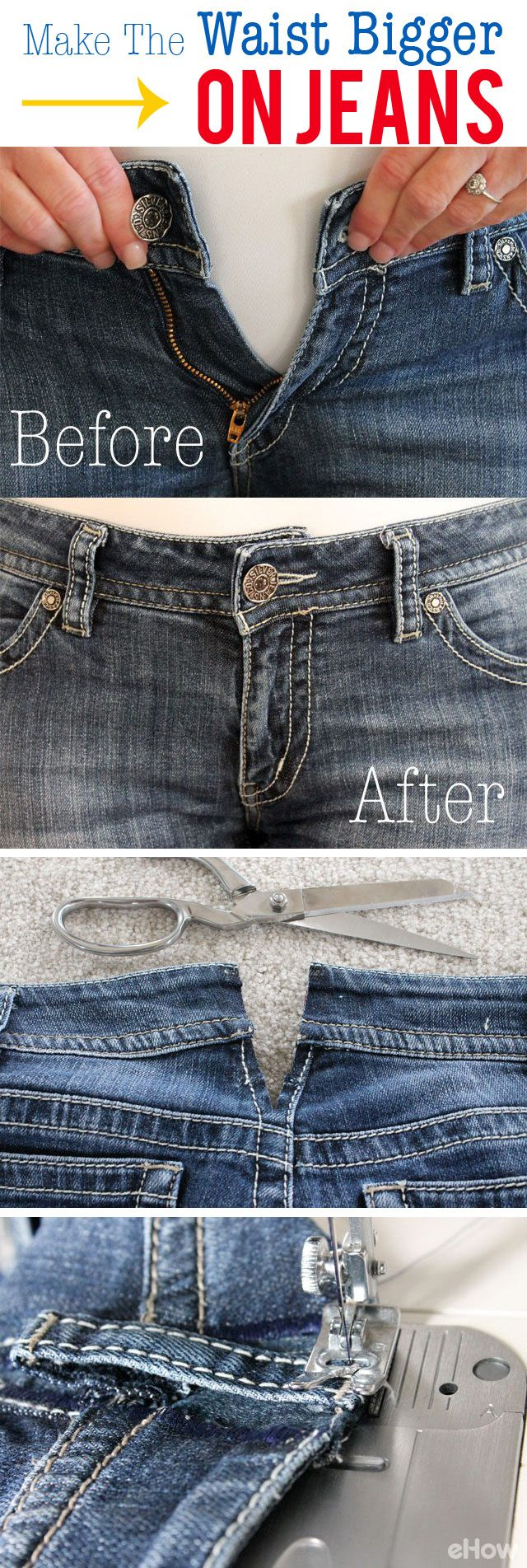 How To Make The Waist Bigger On Jeans Ehow Diy Fashion Sewing For Beginners Easy Sewing