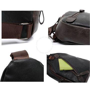 Men Retro PU Leather Crossbody Bag Capacity Leisure Shoulder Chest ... 6683c2403ee65