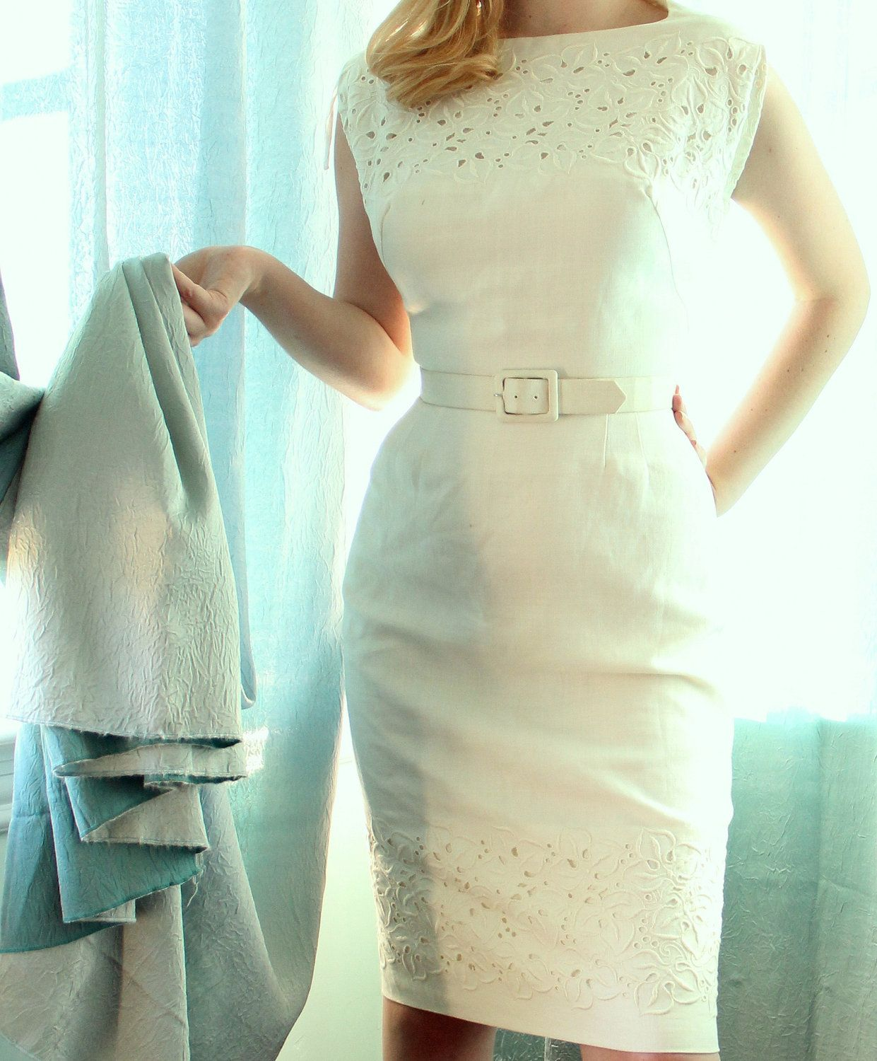Vintage s white wiggle pencil wedding dress with eyelet embroidery