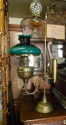 Vintage Duplex England Brass Student Oil Lamp Bankers Desk